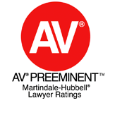 AV Rated as Preeminent Attorney by Martindale-Hubbell